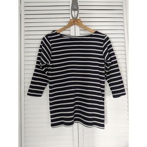 L.L. Bean Navy Striped Sailor Boat Neck Sweater